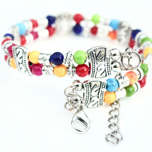 Jewelry - Rainbow Beaded Silver Colorful Bracelet Skittles